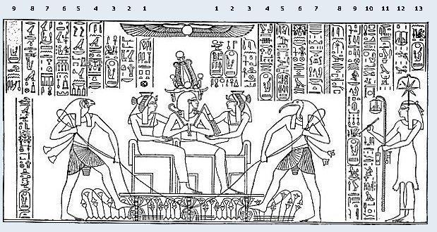 Dessein de Mariette _ Bas relief d'Abydos.