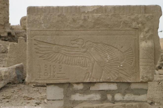 Nekhbet in vulture form in the Satet _ Khnoum Temple on Elephantine.