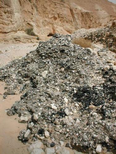 Coulee de bitume au sein de la mer morte israel