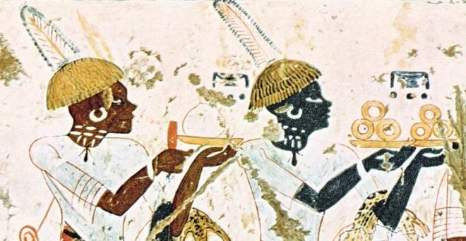 Kushites bringing gold to egypt tomb of viceroy huy thebes