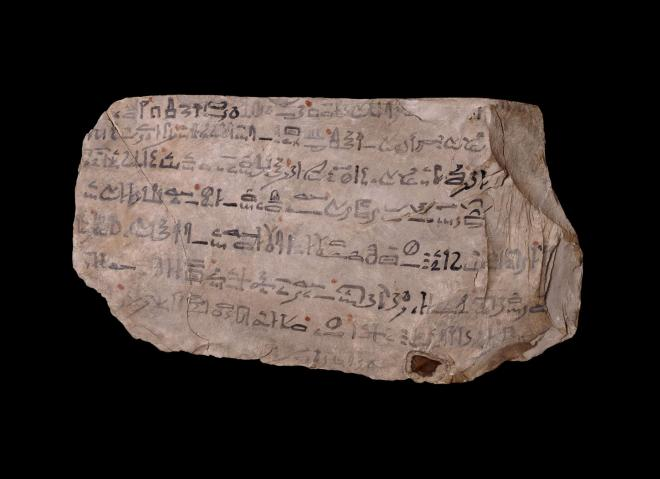 Ostracon with the final lines of the tale of sinuhe thebes 19th dynasty