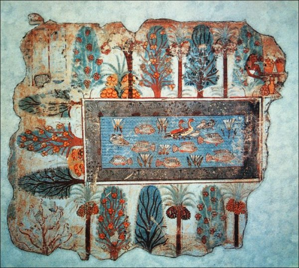 Pond in a garden fragment from the tomb of nebamun 1400 bc