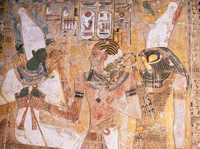Horus menant le pharaon Sethi I vers Osiris...