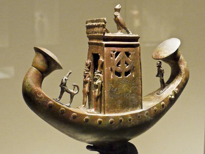 Sun boat of Djedher. 30e dynasty.  Bronze
