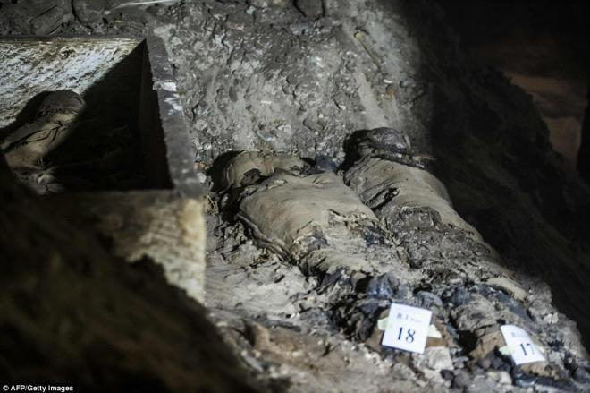 Two partially intact mummies inside the burial site.