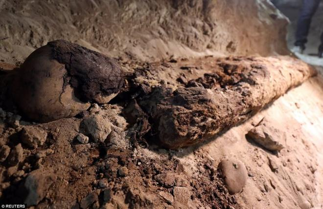 Mummified human remains in the necropolis.