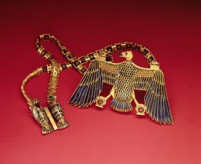 Necklace with vulture pendant, from the tomb of Tutankhamun.