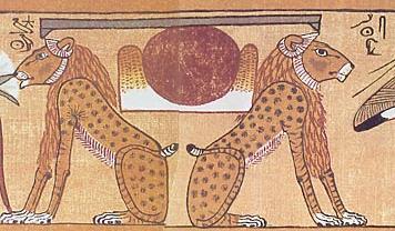 Aker, les deux lions portant l'Horizon