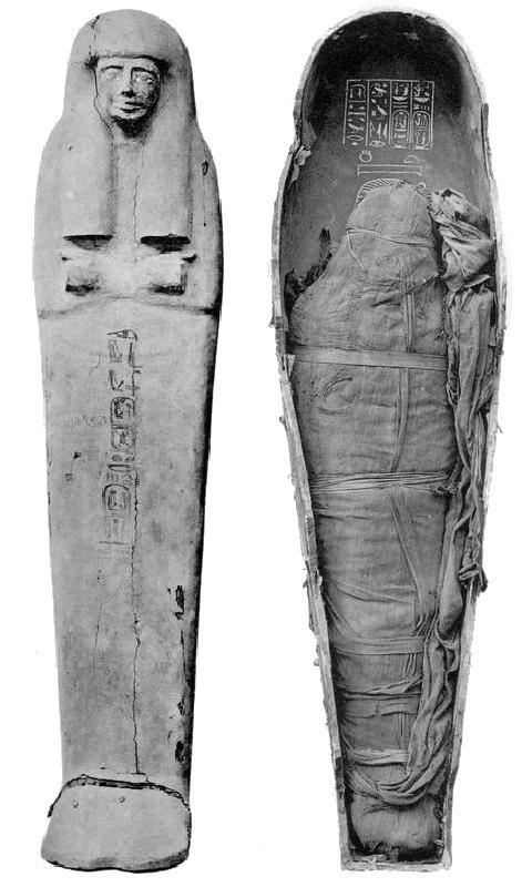 Momie et sarcophage interne d'Amenhotep III.
