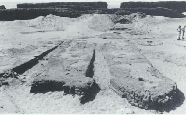 The excavation of some of the boats. Abydos, Egypt.