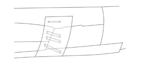 Sketch port side planks and backing timber at stern, not to scale.