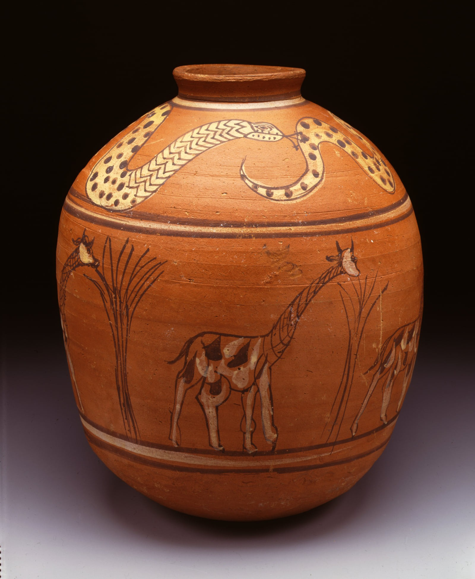 Ceramic painted meroitic jar 100 bc 1bc 34 cm in height from karanog cemetery locus g 566 decorated with a frieze of giraffes and snakes spitting ankh signs