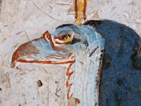 Détail de la tête d'une divinité gardien à tête de vautour, tombe d'Amenouahsou.