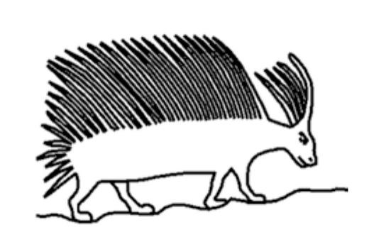 Porc-épic représenté dans la tombe de Pehenoukaï (5e dynastie, Sakkara).