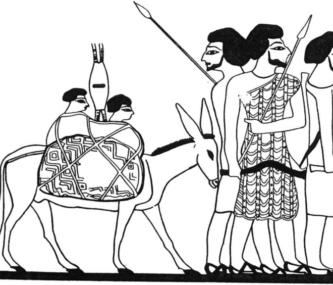 La venue des Asiatiques ; hypogée du nomarque Khnoumhotep II à Beni Hassan.