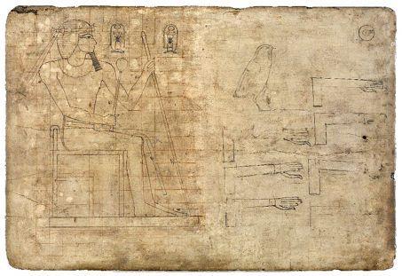 scribe dessinateur_ une figure assise de Thoutmosis III    British Museum
