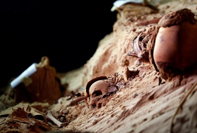 Skulls buried in the sand inside a newly discovered burial site in Minya