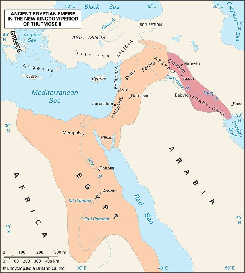 The ancient egyptian empire also referred to as new kingdom at its maximum territorial extent during the reign of thutmose iii ca 1479 1425 bc