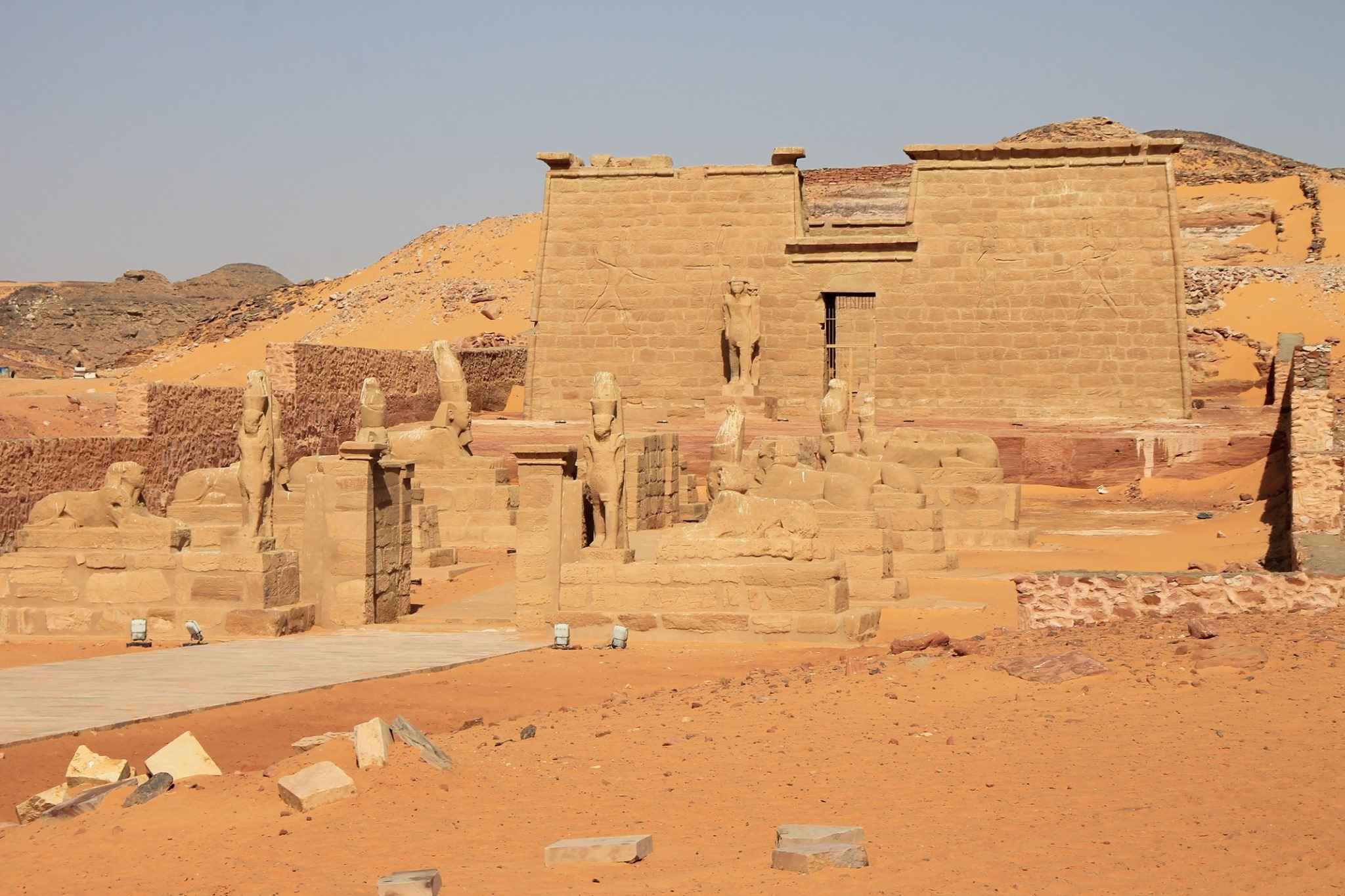 Valley of the Lions,Nubia. (Wadi es Sebua).Rock cut Temple of Ramses II.Relocated,rescued.