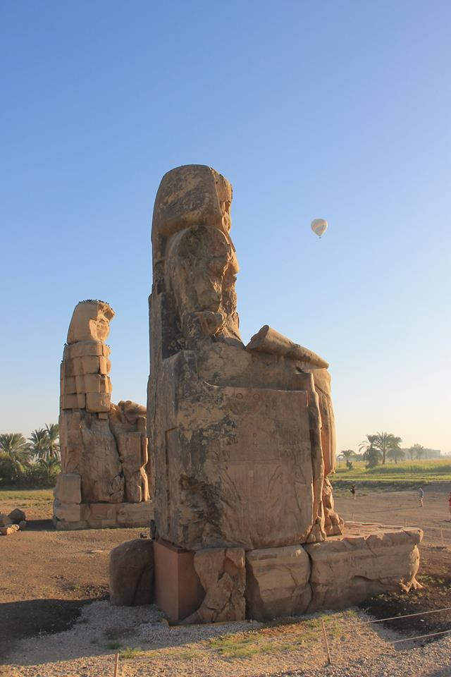 hot air balloons over Amenhotep III. Luxor west bank.
