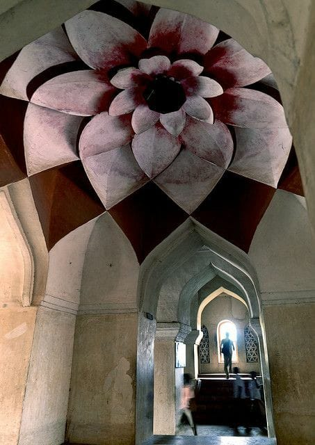 Lotus cieling inside Marta palace, Thanjavur, India.