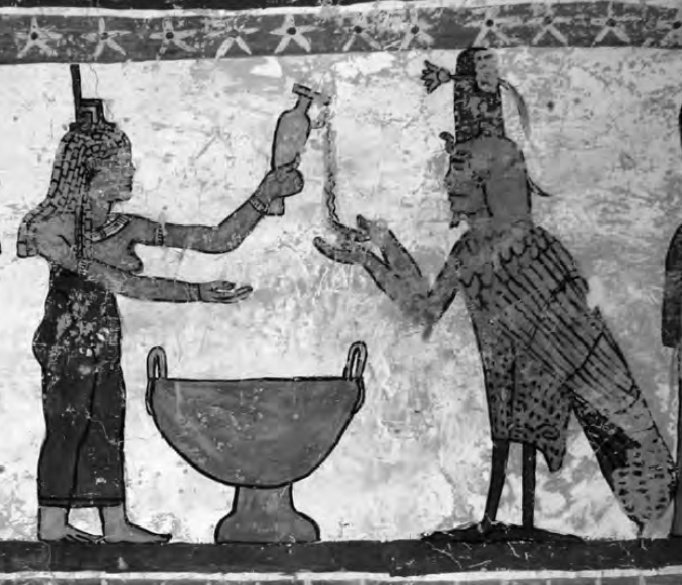 Isis libating to the ba of the deceased. Painting in the tomb of Petosiris at El-Muzawwaqa, room 2, west wall, upper register
