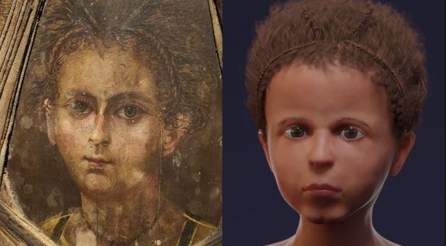 L etude a mis en evidence une grande ressemblance entre le portrait de la momie et la reconstruction faciale de l enfant nerlich ag et al plos one 2020
