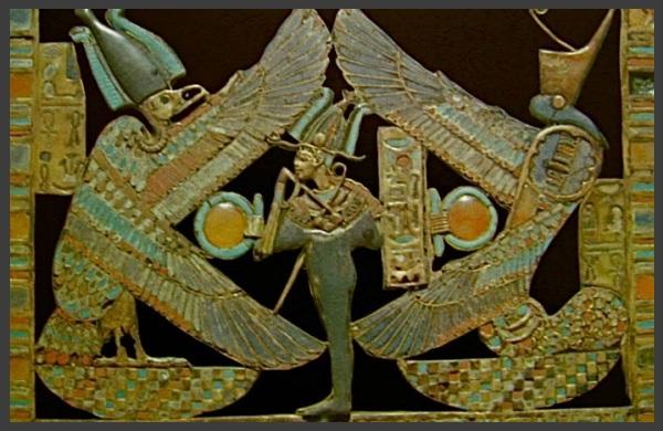 Le dieu osiris ptha entoure de nekhbet et ouadjet les deux gardiennes de l egypte