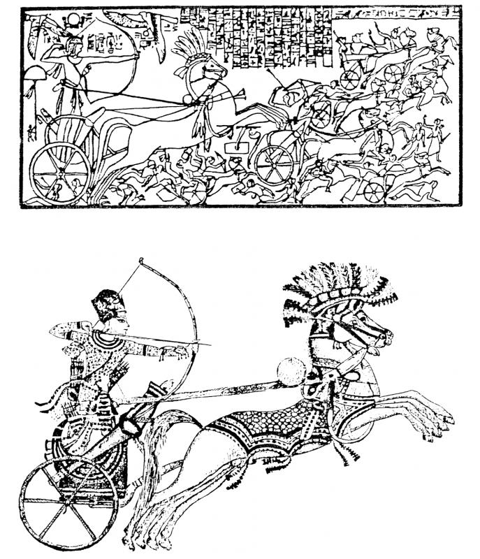 Le pharaon seul sur un char et tirant a l arc les renes sont representees attachees derriere le dos en haut sethi 1er combattant les hittites en bas toutankhammon d apres le coffre