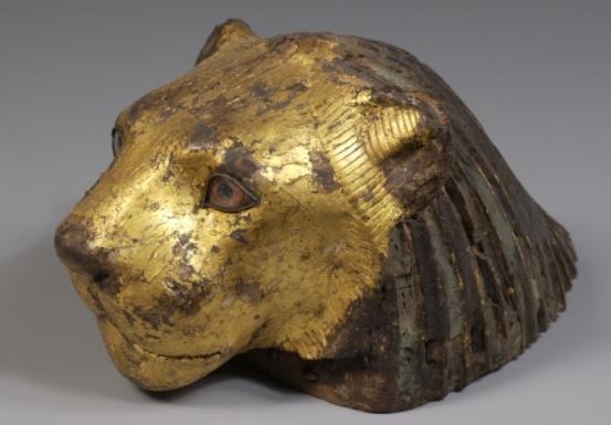Lement de meuble en forme de tete de lion basse epoque 664 a 332 bce copy musee du louvre copy christian decamps