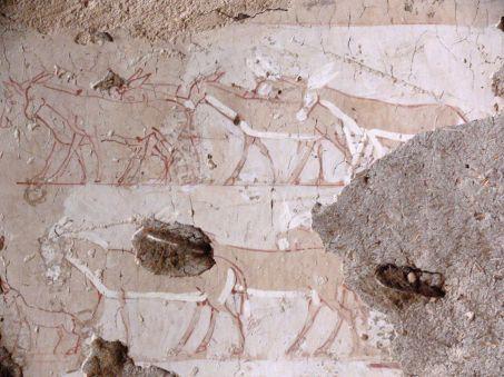 Peinture inachevee representant un troupeau d ane lams mafto cnrs