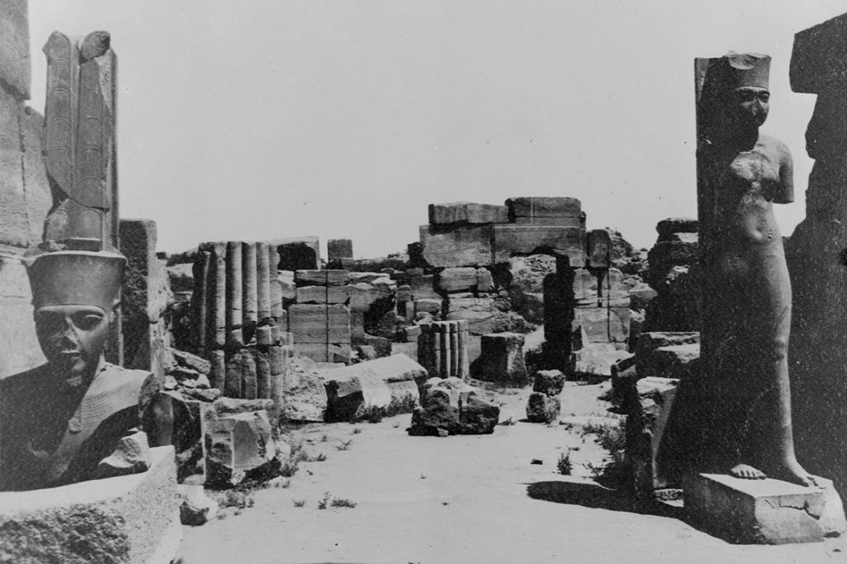 Statues of amun and amunet at karnak between 1897 and 1912 cnrs cfeetk n 25841 fonds g legrain
