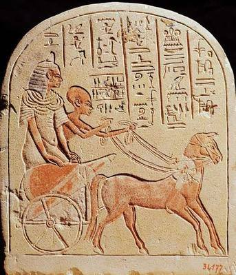 Stela depicting a scribe driving a chariot from tell el amarna new kingdom c 1353 1337 bc egyptian museum cairo