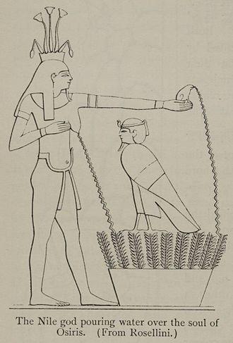Sur l ile de biggeh hapy abreuve d eau le bosquet ou niche l ame ba d osiris illustration du temple de phil
